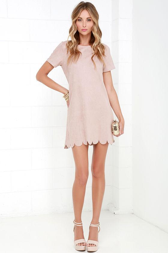 f9c0d4d38ec Chic Beige Suede Dress - Shift Dress - Scalloped Dress -  58.00