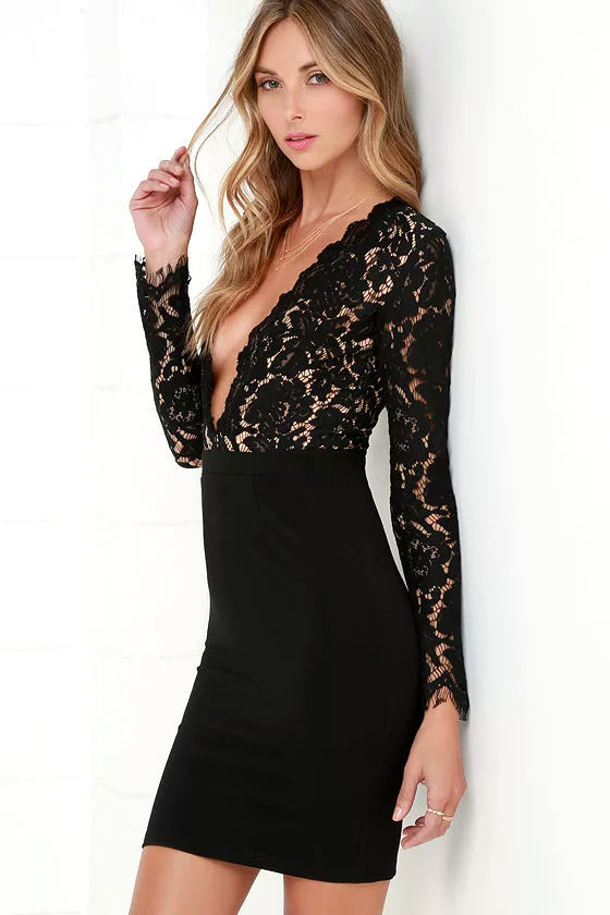 Chic Black Dress - Lace Dress - Long Sleeve Dress - $67.00