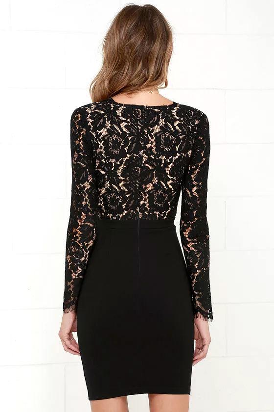 Chic Black Dress - Lace Dress - Long Sleeve Dress - $67.00