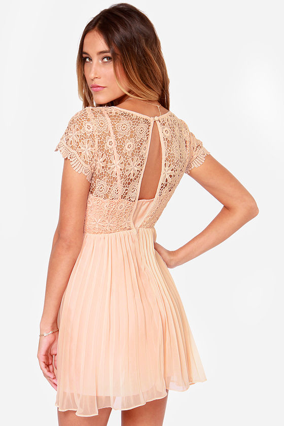 Air of Elegance Light Peach Lace Dress at Lulus.com!