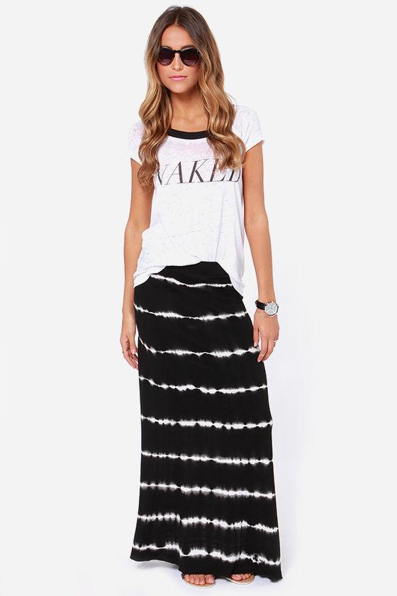 Volcom Skippin Town Black Tie-Dye Maxi Skirt at Lulus.com!