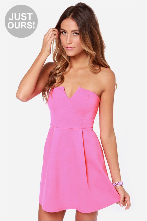 Cute Strapless Dress - Hot Pink Dress - $36.00