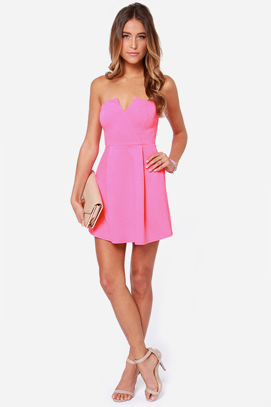 6f24199be4ab1 LULUS Exclusive A New Affair Strapless Hot Pink Dress