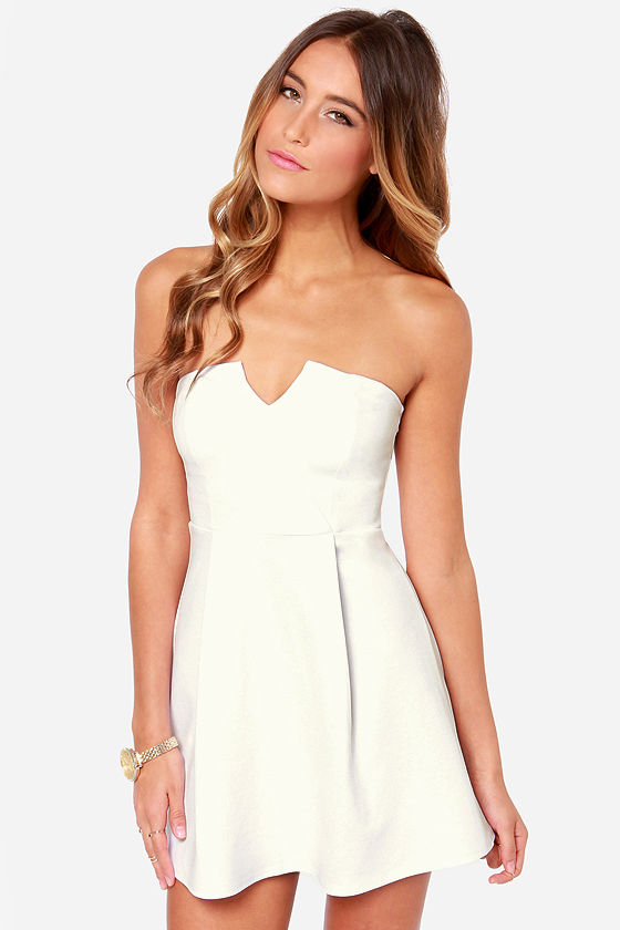 Cute Strapless Dress - Ivory Dress - White Dress - $36.00