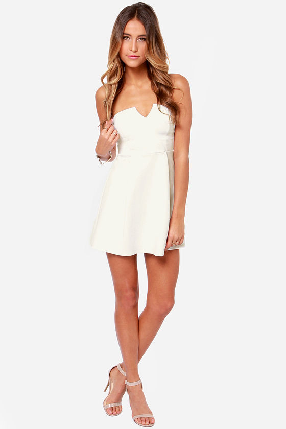 A New Affair Strapless Ivory Dress at Lulus.com!