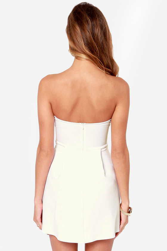 Cute Strapless Dress - Ivory Dress - White Dress - $36.00