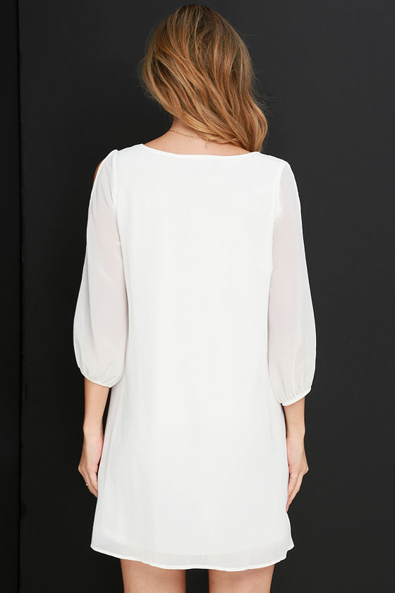 LULUS Exclusive Shifting Dears Ivory Long Sleeve Dress 4