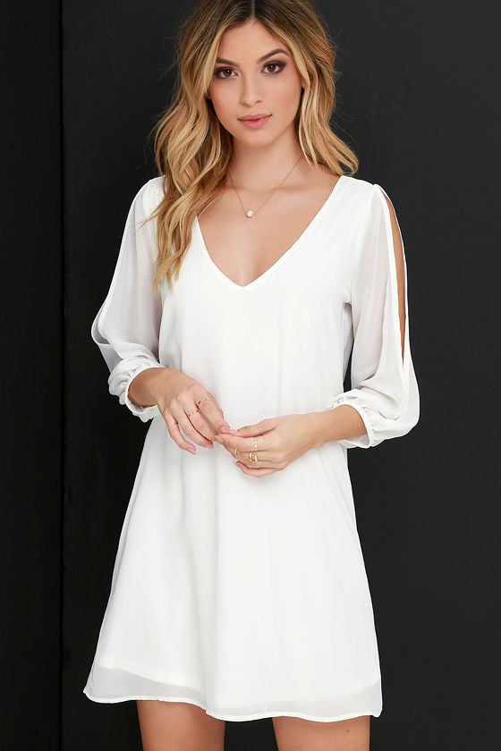 Pretty Ivory Dress - Shift Dress - Cold Shoulder Dress - $40.00