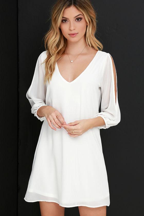 Pretty Ivory Dress - Shift Dress - Cold Shoulder Dress - $40.00