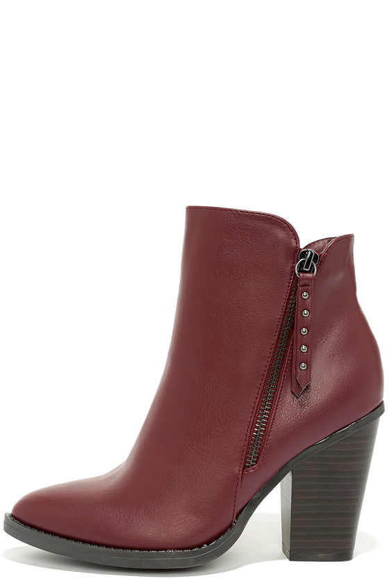 Cute Burgundy Boots - Ankle Boots