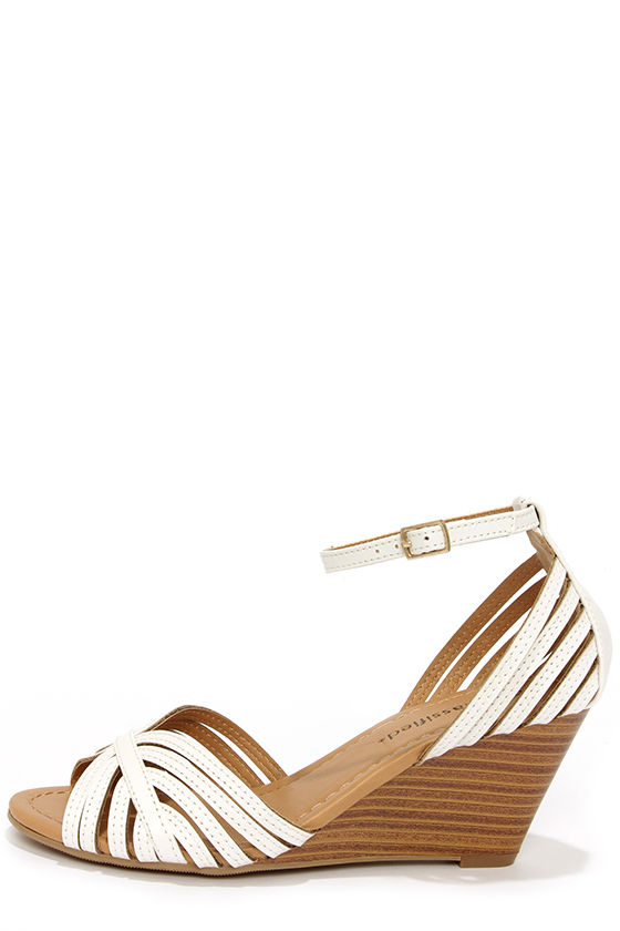 Cute White Heels - Peep Toe Heels - Wedge Sandals - $26.00