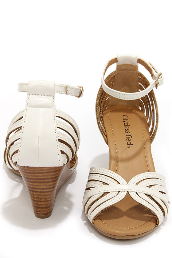b0e96a77ec3 City Classified Ashley Off White Strappy Peep Toe Wedge Sandals