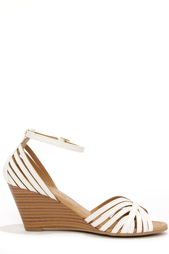 City Classified Ashley Off White Strappy Peep Toe Wedge Sandals at Lulus.com!