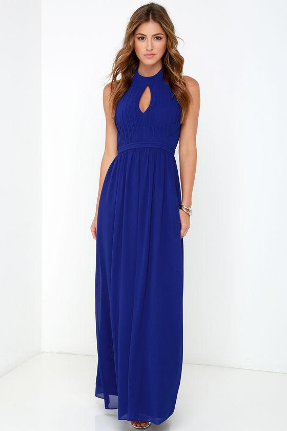 Beautiful Royal Blue Dress - Maxi Dress - Halter Dress - $86.00
