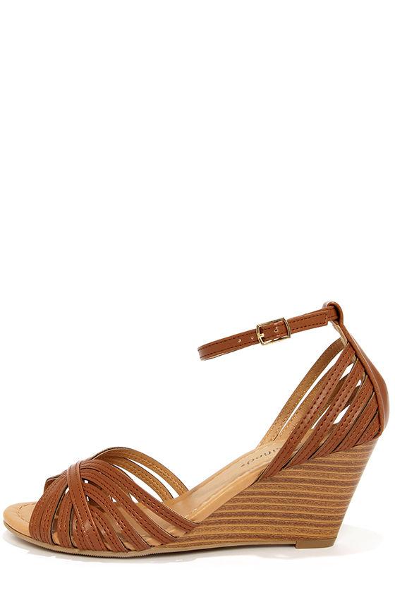 51fb458bec42 Cute Tan Heels - Peep Toe Heels - Wedge Sandals -  26.00