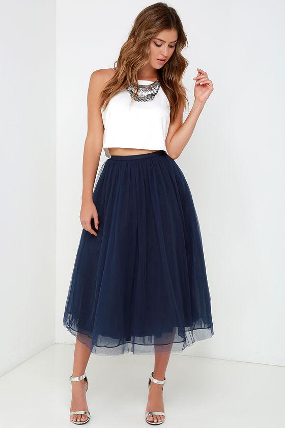 Dreamy navy blue skirt tulle skirt midi skirt 69 00