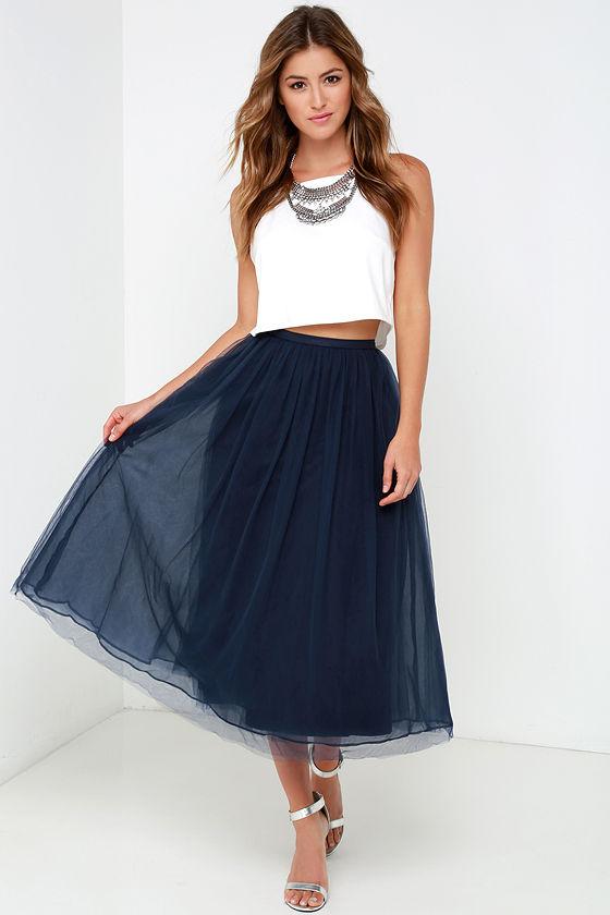 6898b7e113 Dreamy Navy Blue Skirt - Tulle Skirt - Midi Skirt - $69.00