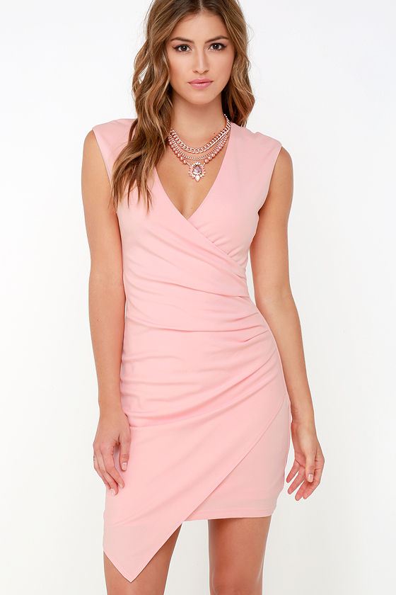 Light Pink Dress - Sleeveless Dress - Wrap Dress - $84.00