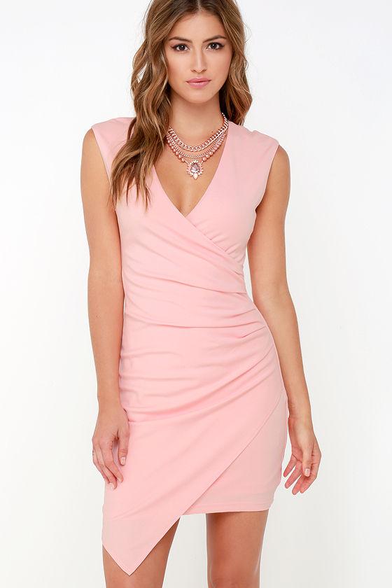 fd471e94c7a0 Light Pink Dress - Sleeveless Dress - Wrap Dress - $84.00