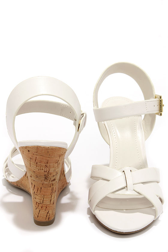 My Delicious Visola White Wedge Sandals at Lulus.com!