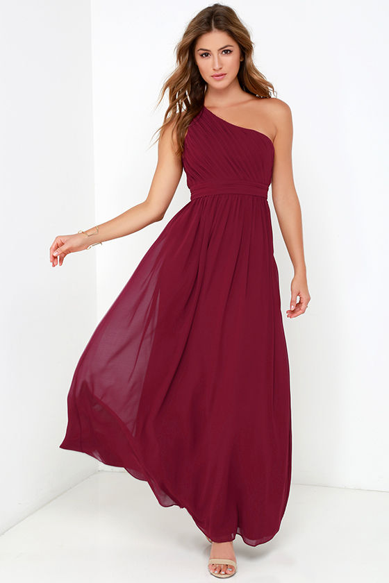 Wine Red Gown - Maxi Dress - One Shoulder Dress - $94.00
