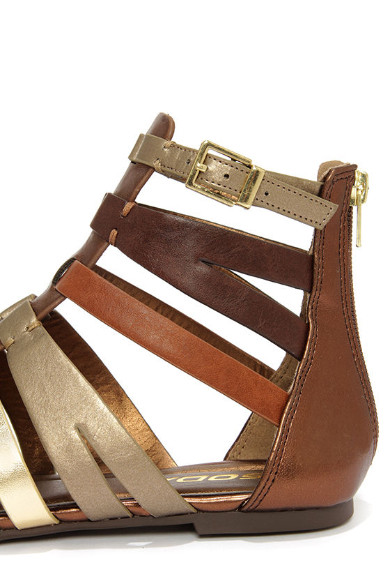 Soda Moore Bronze Multi Gladiator Sandals at Lulus.com!