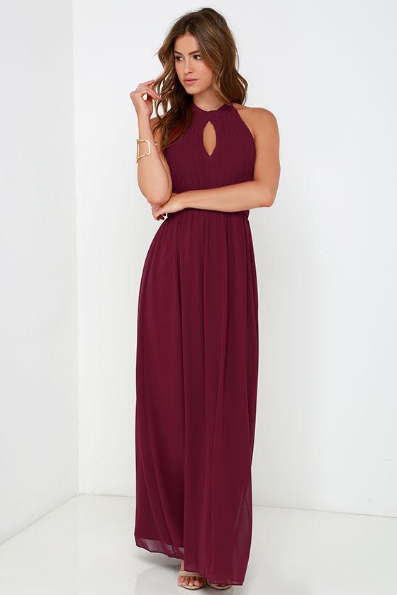 Beautiful Burgundy Dress - Maxi Dress - Halter Dress - $86.00