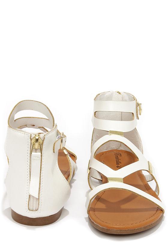 b96b412e84612 Cute Gladiator Sandals - White Sandals - Flat Sandals -  22.00