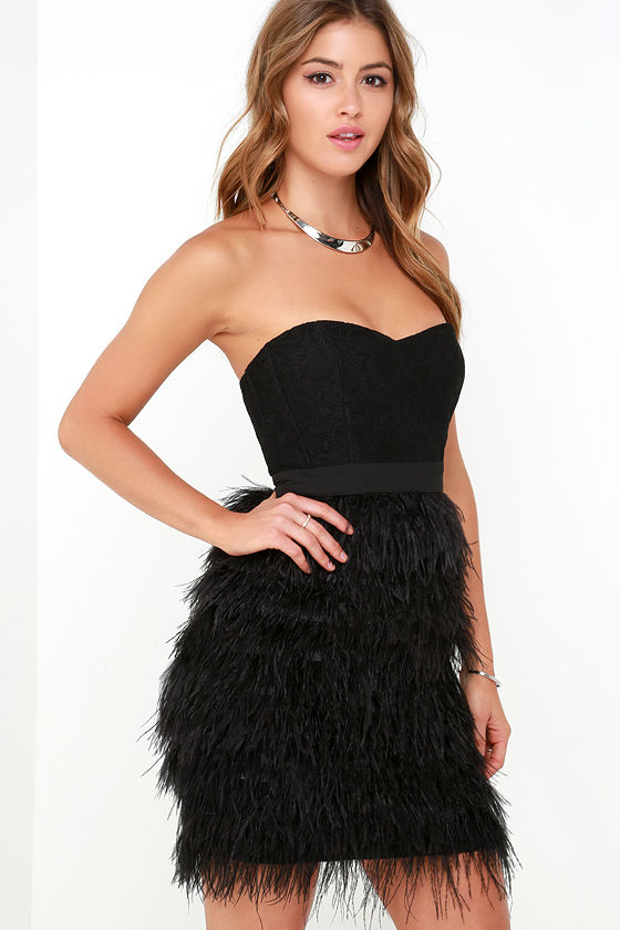 Feather Dress - Strapless Dress - Black Dress - Lace Dress - $154.00