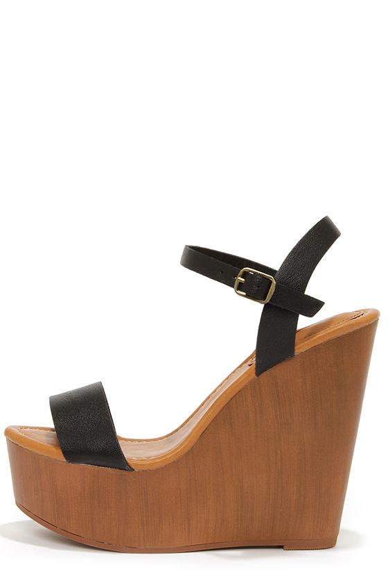 Cute Platform Wedges - Black Shoes - Wedge Sandals -  30.00 cc4dc6fc130a