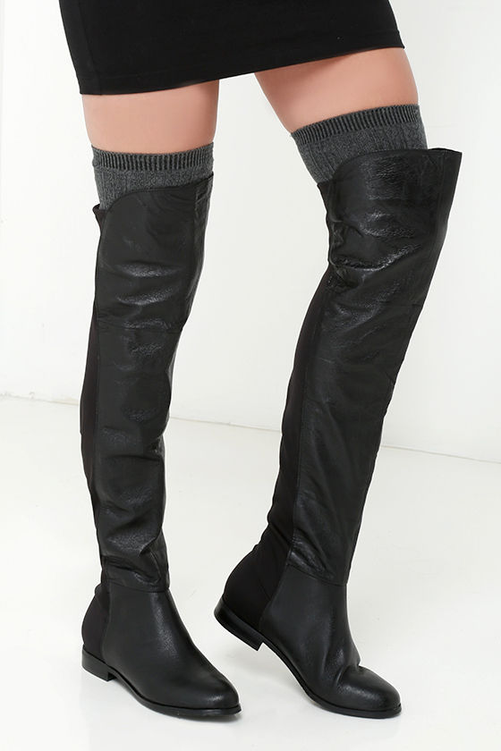 2d227763c2b Cute Black Boots - Leather Boots - Over the Knee Boots - OTK Boots ...