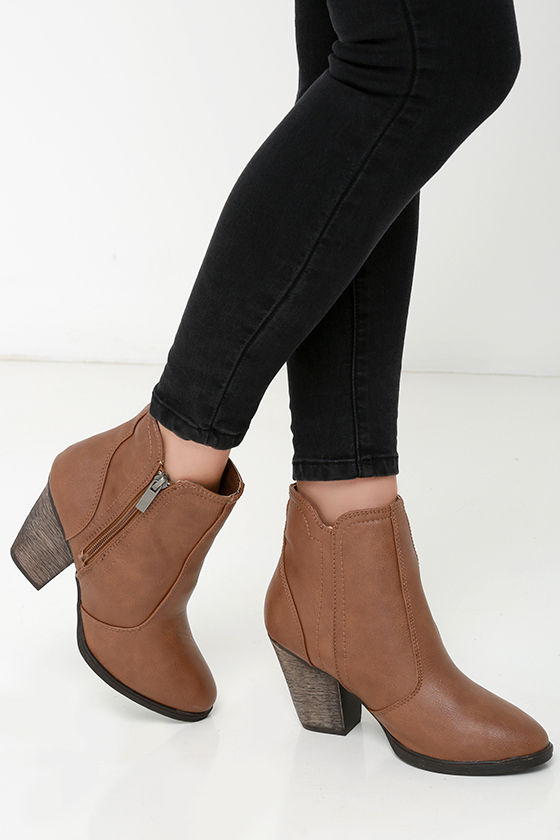 3247ccf09b4d Cute Brown Boots - High Heel Boots - Ankle Boots -  36.00