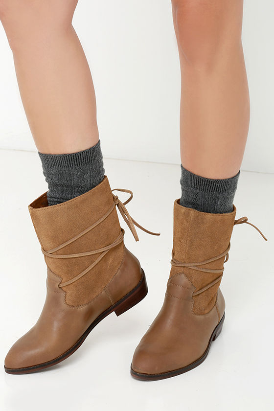 b51c620f0 Cute Leather Boots - Flat Boots - Mid-Calf Boots - $139.00
