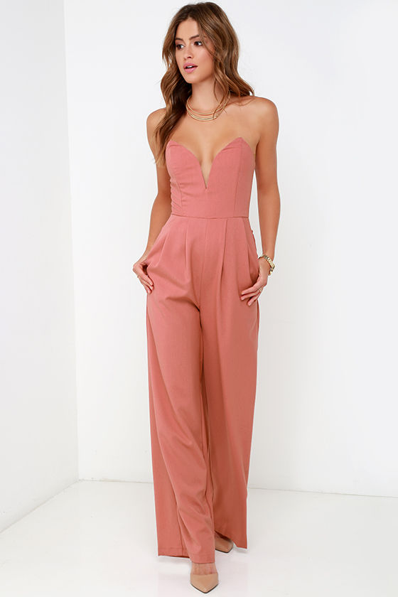 Chic Dusty Rose Jumpsuit Strapless Jumpsuit Sweetheart