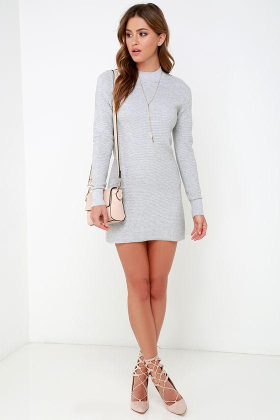 Mink Pink Ultimate Dress - Grey Dress - Sweater Dress - Long Sleeve ... d7e76d7a2