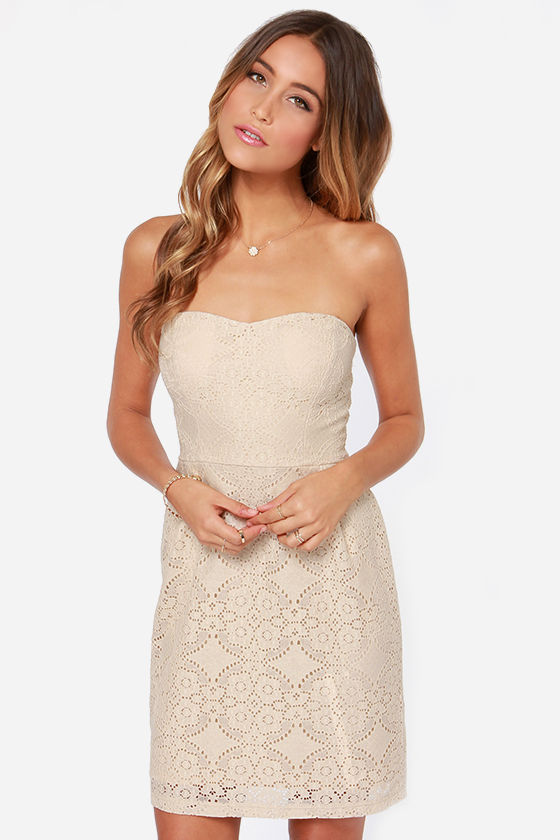 Love You So Strapless Light Beige Lace Dress at Lulus.com!