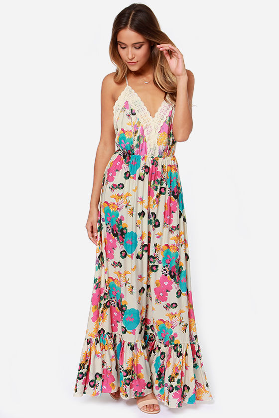Pretty Maxi Dress - Floral Print Dress - Cream Dress - $57.00