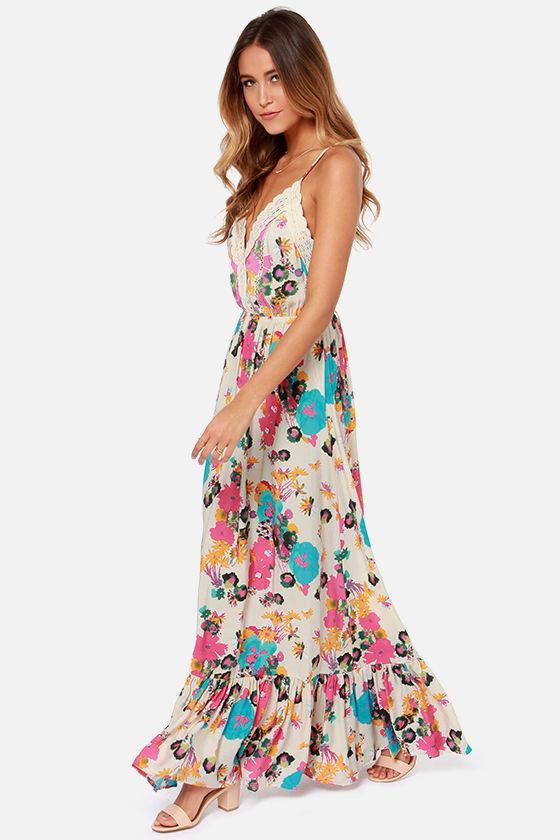70086cee18 Pretty Maxi Dress - Floral Print Dress - Cream Dress - $57.00