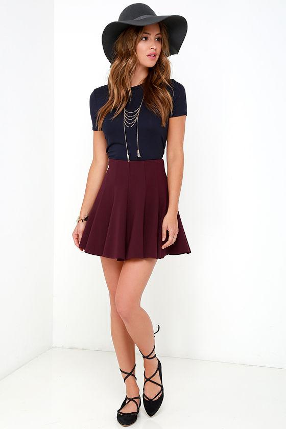 177478fef20f Cute Burgundy Skirt - Flared Skirt - Skater Skirt -  47.00