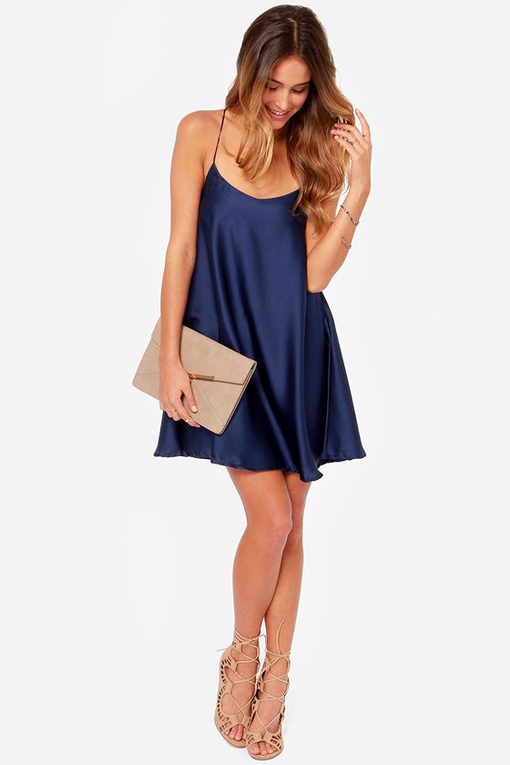 In Slink Navy Blue Dress at Lulus.com!