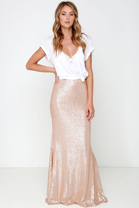 Sexy Blush Skirt - Sequin Skirt - Maxi Skirt - $93.00