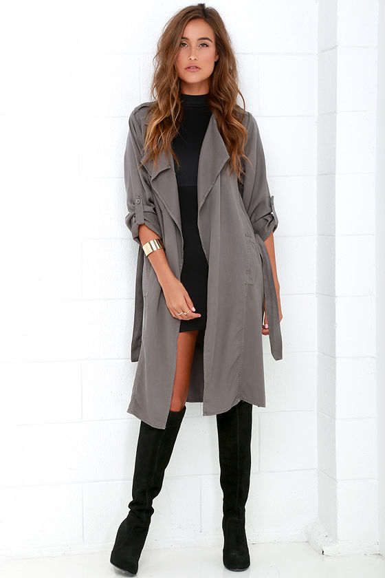 Black Swan Emma Trench Coat Dark Grey Coat Duster Coat