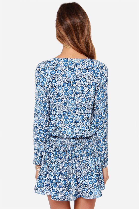 Happy Daisies Ivory and Blue Floral Print Dress at Lulus.com!
