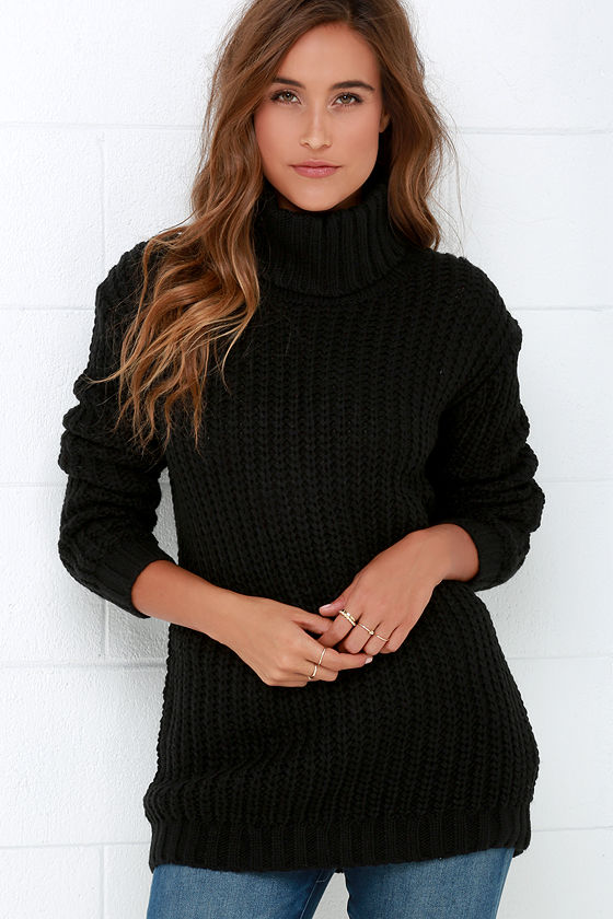 Mink Pink Another Night Sweater - Black Sweater - Turtleneck ...