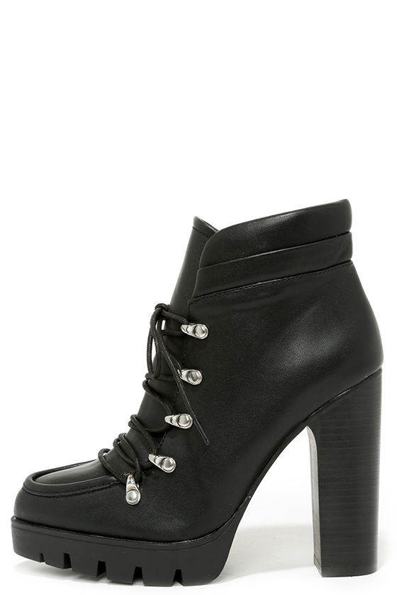 Cute Black Boots - High Heel Boots - Ankle Boots - Booties - $113.00