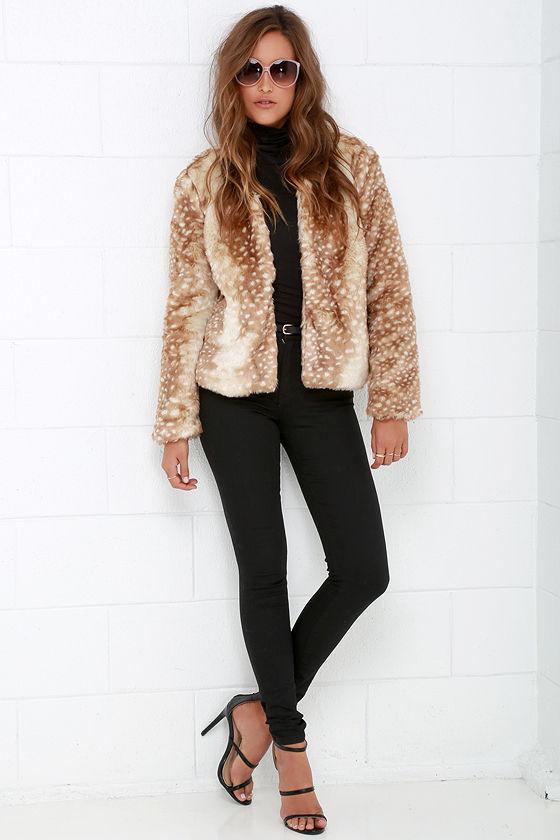 Mink Pink Oh Deer Coat - Faux Fur Coat - Beige Jacket - $119.00