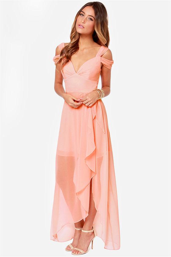 Pretty Peach Prom Dress