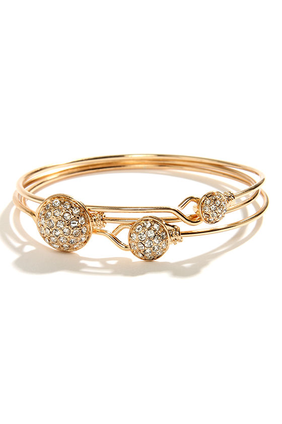 Like a Rolling Rhinestone Gold Bangle Set at Lulus.com!