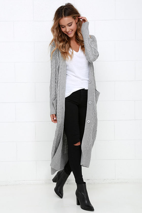 Cozy Grey Sweater - Long Sweater - Cable Knit Sweater - $104.00
