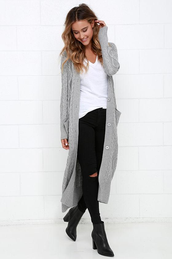 At Great Length Grey Long Cardigan Sweater